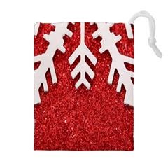 Macro Photo Of Snowflake On Red Glittery Paper Drawstring Pouches (Extra Large)