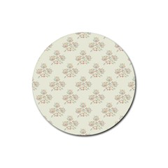 Seamless Floral Pattern Rubber Coaster (Round)