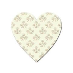 Seamless Floral Pattern Heart Magnet