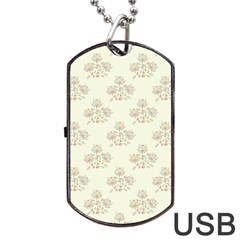 Seamless Floral Pattern Dog Tag USB Flash (One Side)