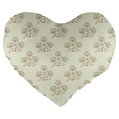 Seamless Floral Pattern Large 19  Premium Heart Shape Cushions