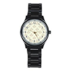 Seamless Floral Pattern Stainless Steel Round Watch