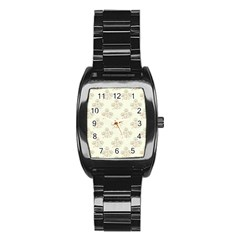 Seamless Floral Pattern Stainless Steel Barrel Watch