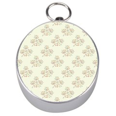 Seamless Floral Pattern Silver Compasses