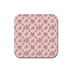 Beautiful hand drawn flowers pattern Rubber Square Coaster (4 pack)