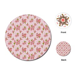 Beautiful hand drawn flowers pattern Playing Cards (Round)