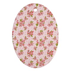 Beautiful hand drawn flowers pattern Oval Ornament (Two Sides)