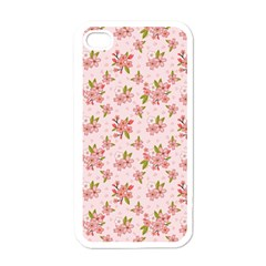 Beautiful hand drawn flowers pattern Apple iPhone 4 Case (White)