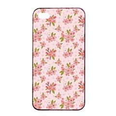 Beautiful hand drawn flowers pattern Apple iPhone 4/4s Seamless Case (Black)
