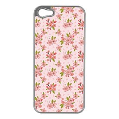 Beautiful hand drawn flowers pattern Apple iPhone 5 Case (Silver)