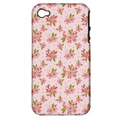 Beautiful hand drawn flowers pattern Apple iPhone 4/4S Hardshell Case (PC+Silicone)