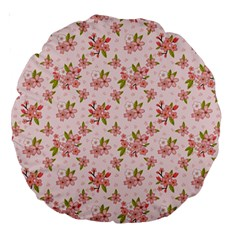 Beautiful hand drawn flowers pattern Large 18  Premium Round Cushions
