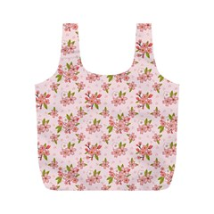Beautiful hand drawn flowers pattern Full Print Recycle Bags (M)