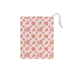 Beautiful hand drawn flowers pattern Drawstring Pouches (Small)