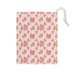 Beautiful hand drawn flowers pattern Drawstring Pouches (Large)