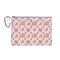 Beautiful hand drawn flowers pattern Canvas Cosmetic Bag (M)