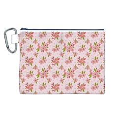 Beautiful hand drawn flowers pattern Canvas Cosmetic Bag (L)