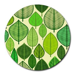 Leaves pattern design Round Mousepads