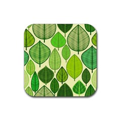 Leaves pattern design Rubber Coaster (Square)