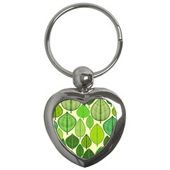 Leaves pattern design Key Chains (Heart)