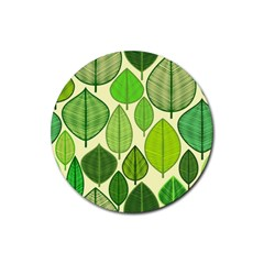 Leaves pattern design Rubber Round Coaster (4 pack)