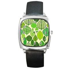 Leaves pattern design Square Metal Watch