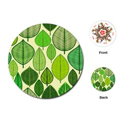 Leaves pattern design Playing Cards (Round)
