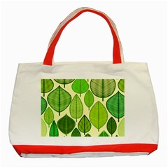 Leaves pattern design Classic Tote Bag (Red)