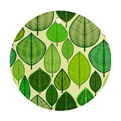 Leaves pattern design Round Ornament (Two Sides)