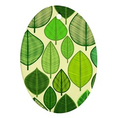Leaves pattern design Oval Ornament (Two Sides)