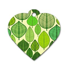 Leaves pattern design Dog Tag Heart (One Side)