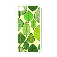 Leaves pattern design Apple iPhone 4 Case (White)