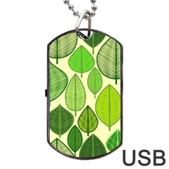 Leaves pattern design Dog Tag USB Flash (Two Sides)