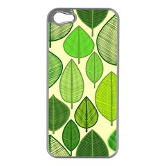Leaves pattern design Apple iPhone 5 Case (Silver)