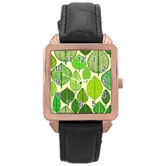 Leaves pattern design Rose Gold Leather Watch