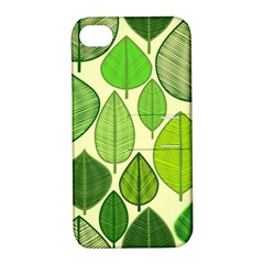Leaves pattern design Apple iPhone 4/4S Hardshell Case with Stand