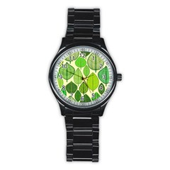 Leaves pattern design Stainless Steel Round Watch
