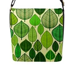 Leaves pattern design Flap Messenger Bag (L)