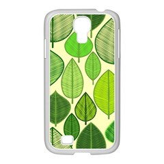 Leaves pattern design Samsung GALAXY S4 I9500/ I9505 Case (White)