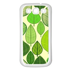 Leaves pattern design Samsung Galaxy S3 Back Case (White)