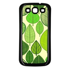 Leaves pattern design Samsung Galaxy S3 Back Case (Black)