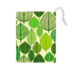 Leaves pattern design Drawstring Pouches (Large)