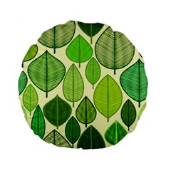 Leaves pattern design Standard 15  Premium Flano Round Cushions