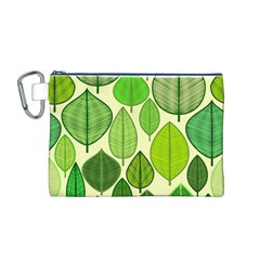 Leaves pattern design Canvas Cosmetic Bag (M)