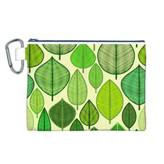 Leaves pattern design Canvas Cosmetic Bag (L)