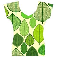 Leaves pattern design Women s V-Neck Cap Sleeve Top