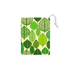 Leaves pattern design Drawstring Pouches (XS)