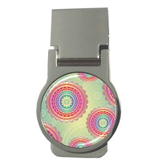 Abstract Geometric Wheels Pattern Money Clips (Round)
