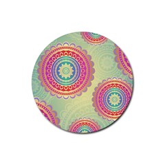 Abstract Geometric Wheels Pattern Rubber Round Coaster (4 pack)