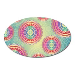 Abstract Geometric Wheels Pattern Oval Magnet
